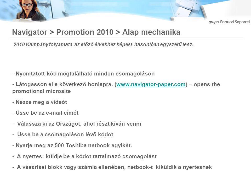 2010 Navigator Kampány Májustól Novemberig tart. Navigator > Promotion 2010 > Időtartam Sok Sikert!