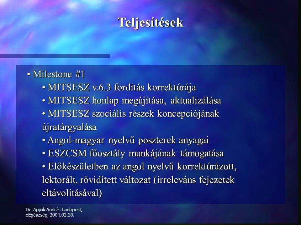 Teljesítések • Milestone #1 • MITSESZ v.6.3 fordítás korrektúrája • MITSESZ honlap megújítása, aktualizálása • MITSESZ szociális részek koncepciójának újratárgyalása • Angol-magyar nyelvű poszterek anyagai • ESZCSM főosztály munkájának támogatása • Előkészületben az angol nyelvű korrektúrázott, lektorált, rövidített változat (irreleváns fejezetek eltávolításával)