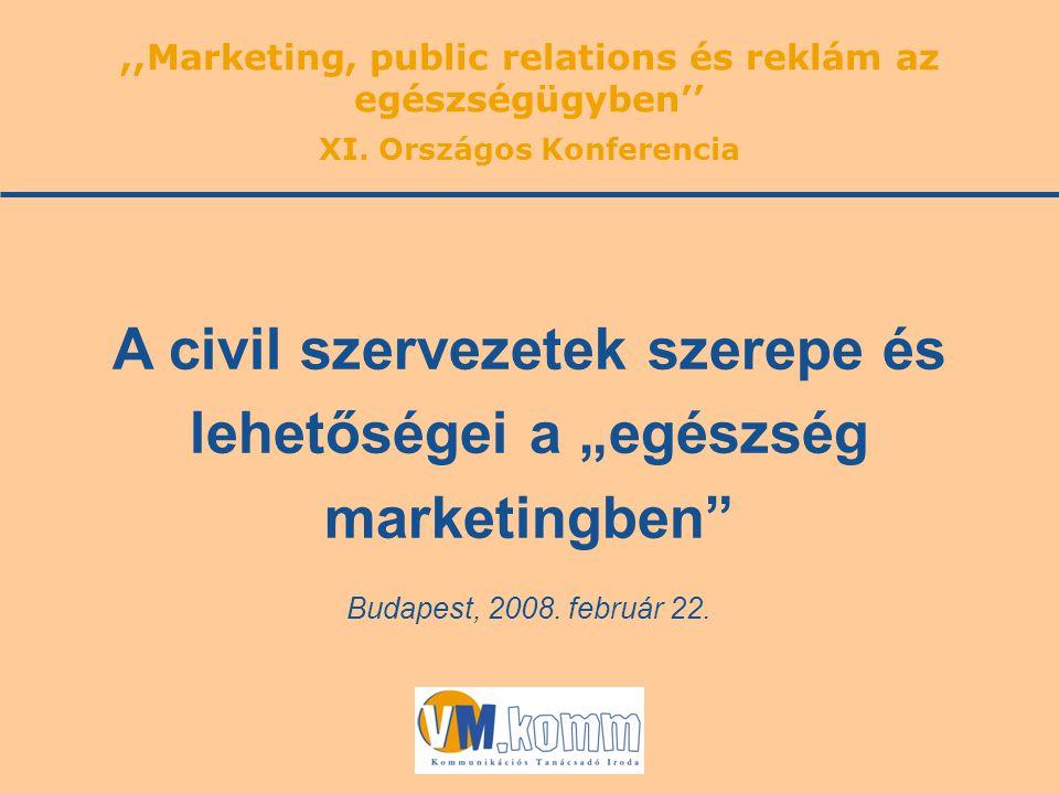 """Budapest, 2008. február 22. A civil szervezetek szerepe és lehetőségei a """"egészség marketingben"""",,Marketing, public relations és reklám az egészségügy"""