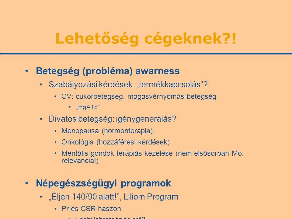 """Lehetőség cégeknek?! •Betegség (probléma) awarness •Szabályozási kérdések: """"termékkapcsolás""""? •CV: cukorbetegség, magasvérnyomás-betegség •""""HgA1c"""" •Di"""