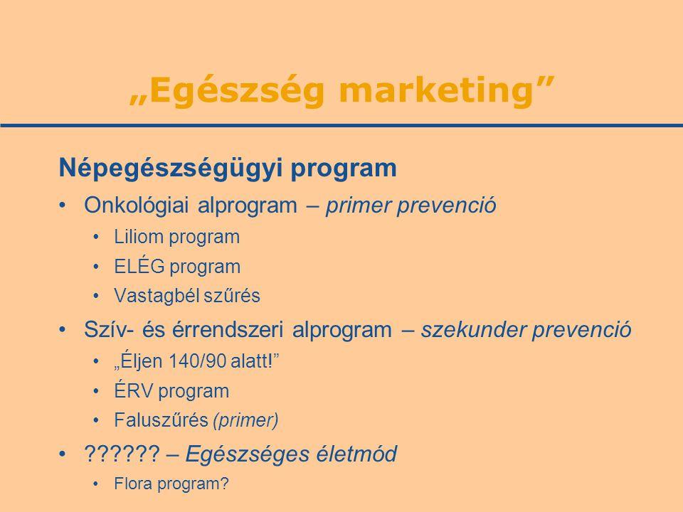 """""""Egészség marketing"""" Népegészségügyi program •Onkológiai alprogram – primer prevenció •Liliom program •ELÉG program •Vastagbél szűrés •Szív- és érrend"""