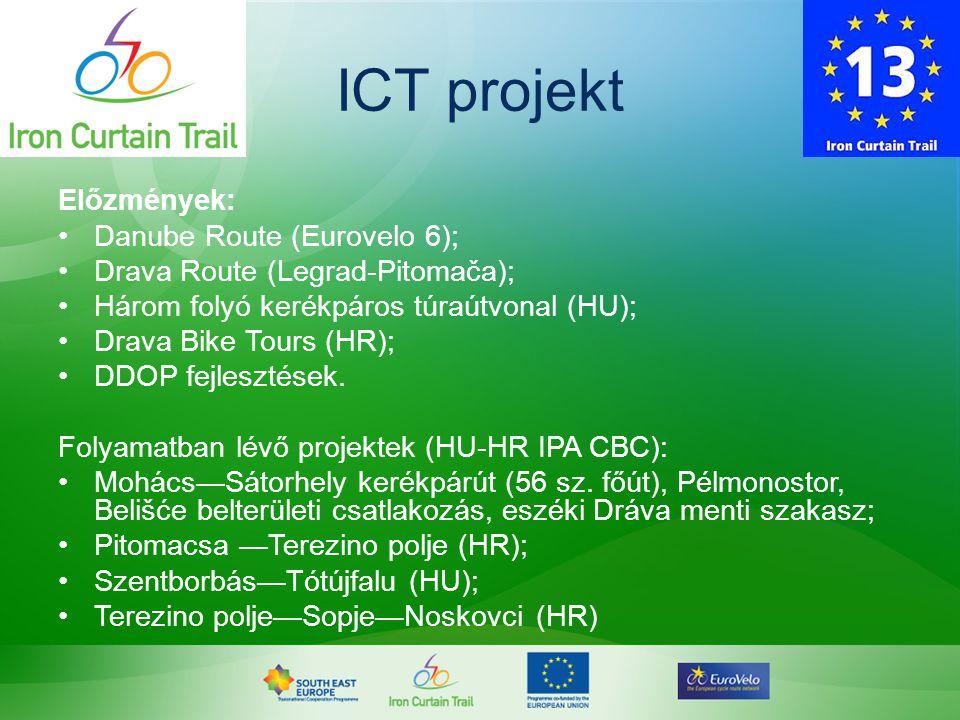 ICT projekt Előzmények: •Danube Route (Eurovelo 6); •Drava Route (Legrad-Pitomača); •Három folyó kerékpáros túraútvonal (HU); •Drava Bike Tours (HR);