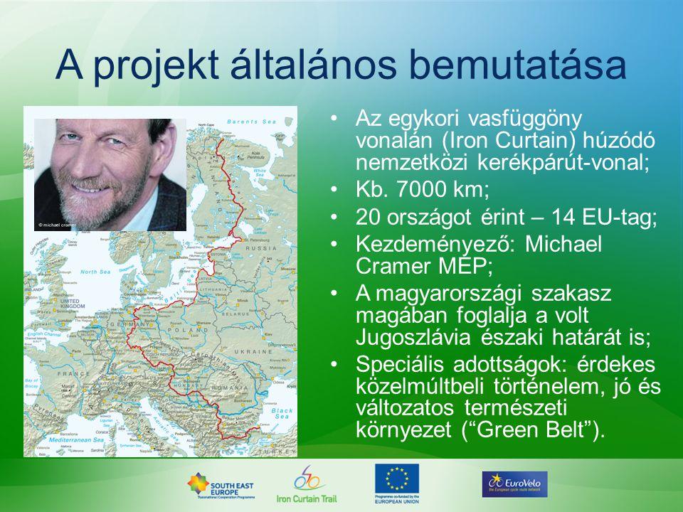 A projekt általános bemutatása •Az egykori vasfüggöny vonalán (Iron Curtain) húzódó nemzetközi kerékpárút-vonal; •Kb. 7000 km; •20 országot érint – 14