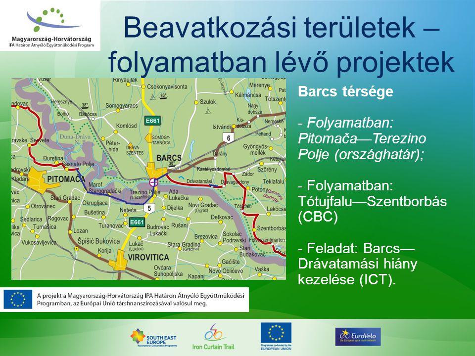 Beavatkozási területek – folyamatban lévő projektek Barcs térsége - Folyamatban: Pitomača—Terezino Polje (országhatár); - Folyamatban: Tótujfalu—Szent