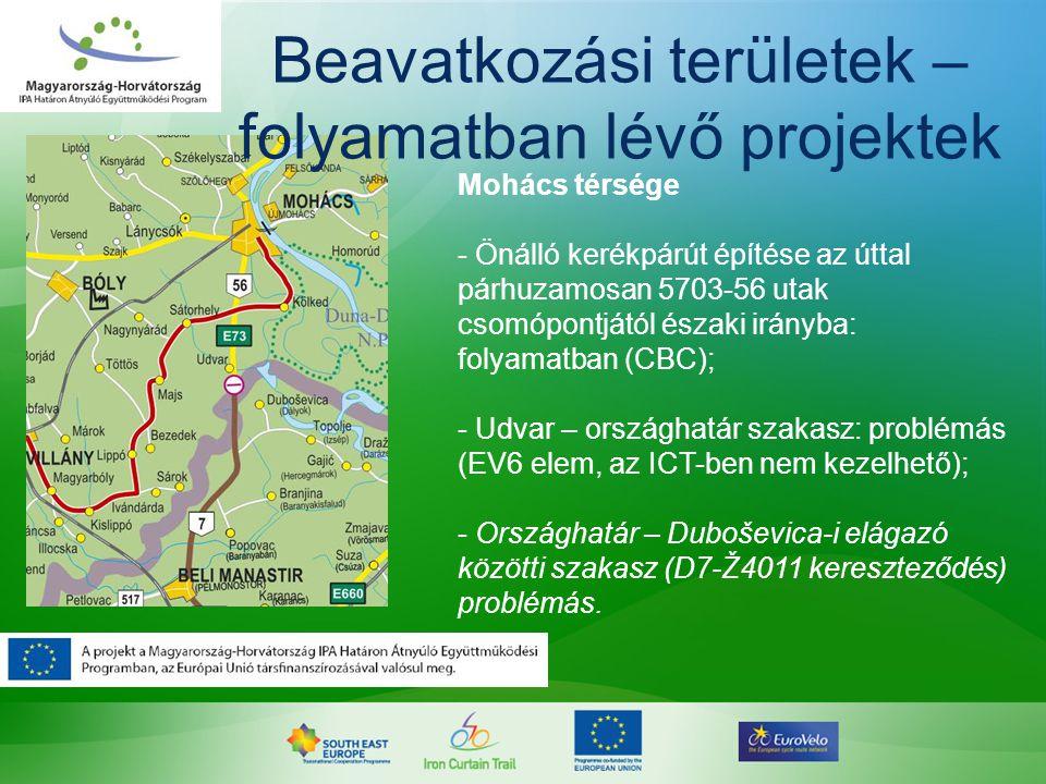 Mohács térsége - Önálló kerékpárút építése az úttal párhuzamosan 5703-56 utak csomópontjától északi irányba: folyamatban (CBC); - Udvar – országhatár
