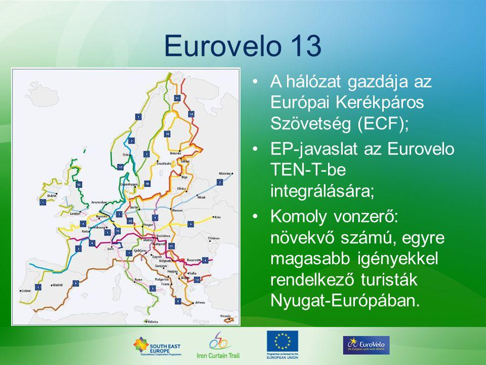 Eurovelo 13 •A hálózat gazdája az Európai Kerékpáros Szövetség (ECF); •EP-javaslat az Eurovelo TEN-T-be integrálására; •Komoly vonzerő: növekvő számú,