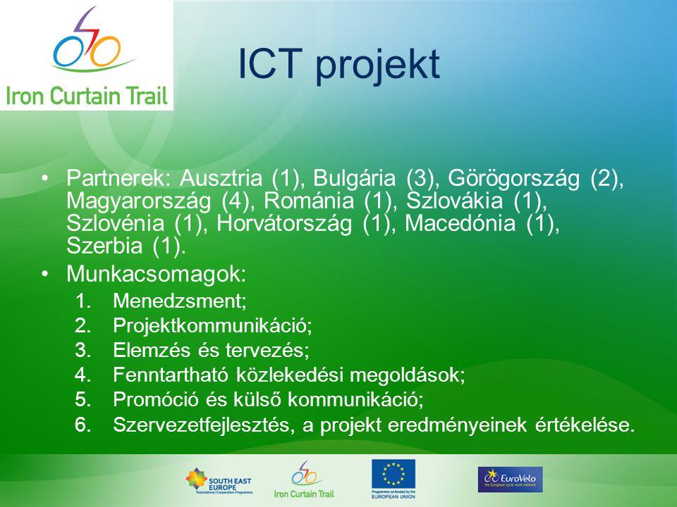 ICT projekt •Partnerek: Ausztria (1), Bulgária (3), Görögország (2), Magyarország (4), Románia (1), Szlovákia (1), Szlovénia (1), Horvátország (1), Ma