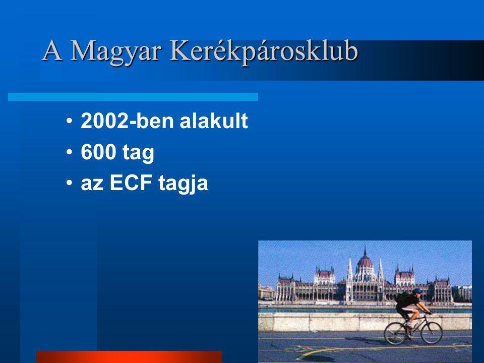 A Magyar Kerékpárosklub •2002-ben alakult •600 tag •az ECF tagja