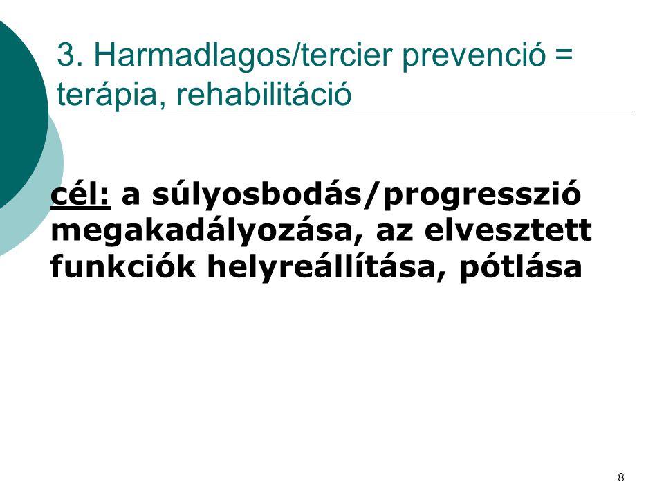 8 3. Harmadlagos/tercier prevenció = terápia, rehabilitáció cél: a súlyosbodás/progresszió megakadályozása, az elvesztett funkciók helyreállítása, pót