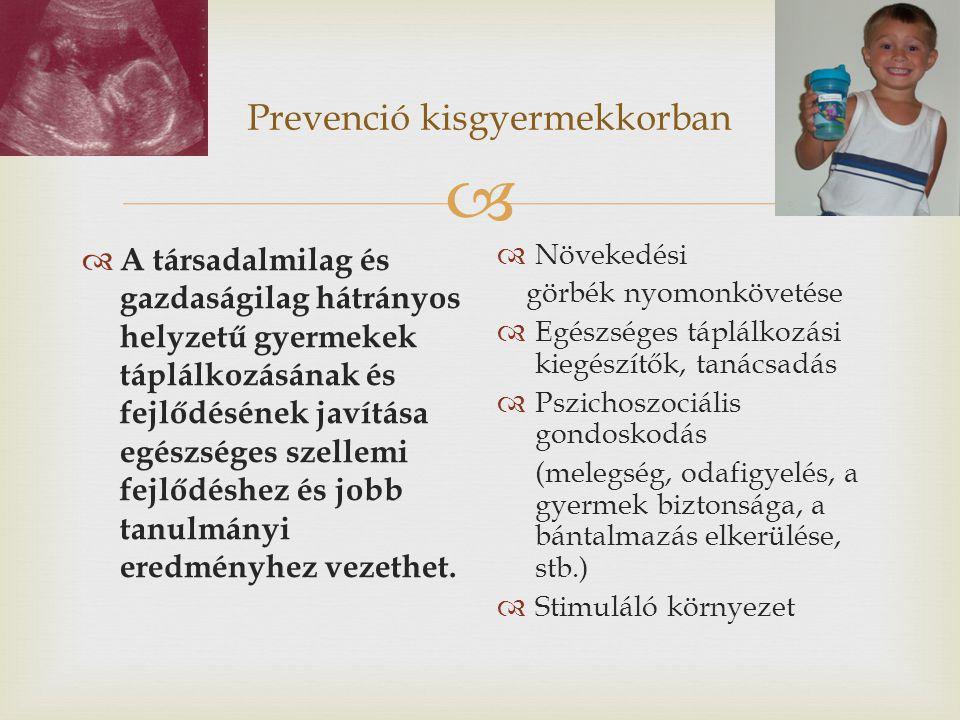  Prevenció kisgyermekkorban  A társadalmilag és gazdaságilag hátrányos helyzetű gyermekek táplálkozásának és fejlődésének javítása egészséges szelle