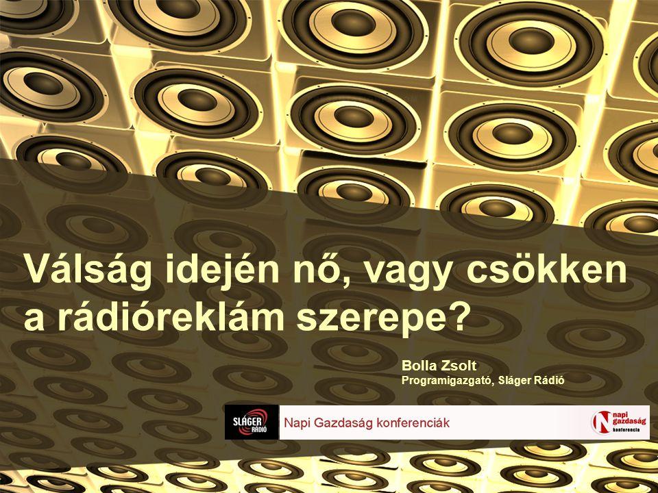 Válság idején nő, vagy csökken a rádióreklám szerepe Bolla Zsolt Programigazgató, Sláger Rádió