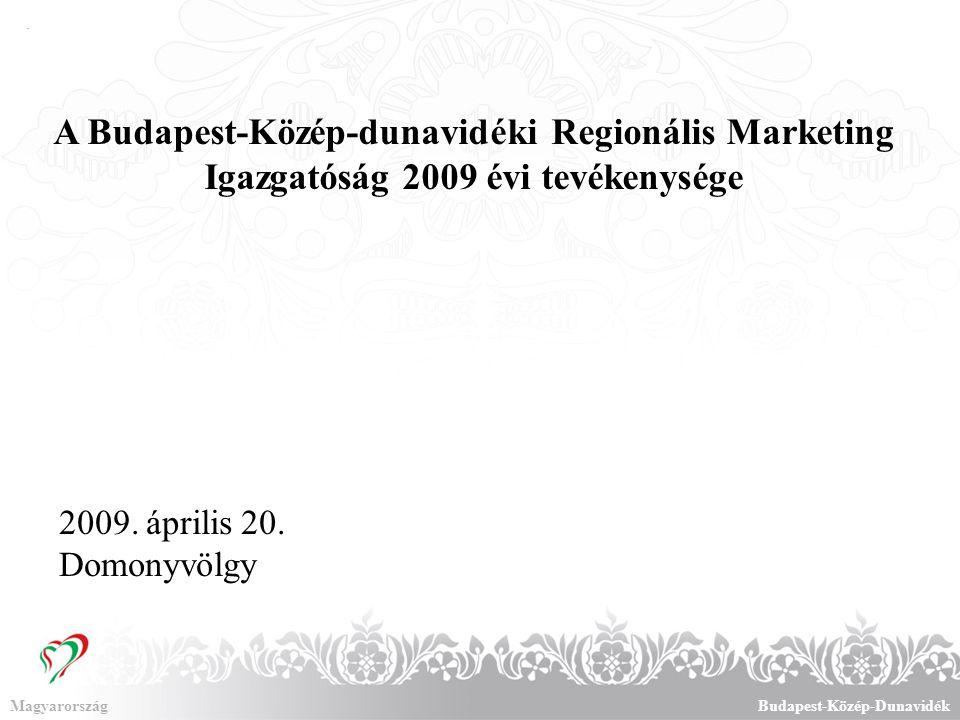 A Budapest-Közép-Dunavidék régió helye Magyarország turizmusában MagyarországBudapest-Közép-Dunavidék A vendégéjszakák számának alakulása, 2008.