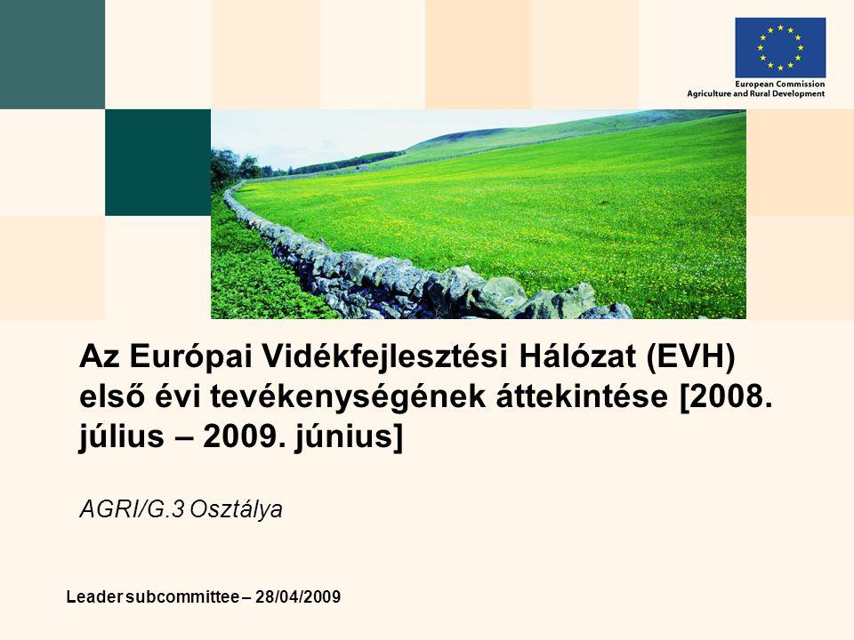 Leader subcommittee – 28/04/2009 Az Európai Vidékfejlesztési Hálózat (EVH) első évi tevékenységének áttekintése [2008.