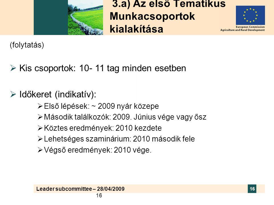Leader subcommittee – 28/04/2009 16 3.a) Az első Tematikus Munkacsoportok kialakítása (folytatás)  Kis csoportok: 10- 11 tag minden esetben  Időkeret (indikatív):  Első lépések: ~ 2009 nyár közepe  Második találkozók: 2009.