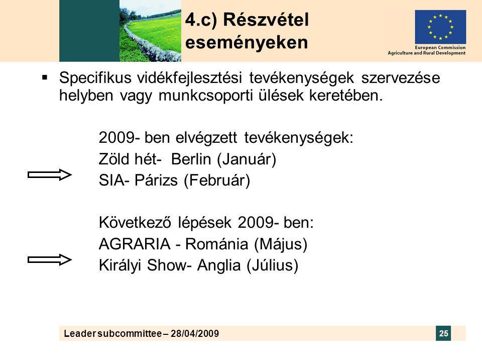 Leader subcommittee – 28/04/2009 25 4.c) Részvétel eseményeken  Specifikus vidékfejlesztési tevékenységek szervezése helyben vagy munkcsoporti ülések keretében.