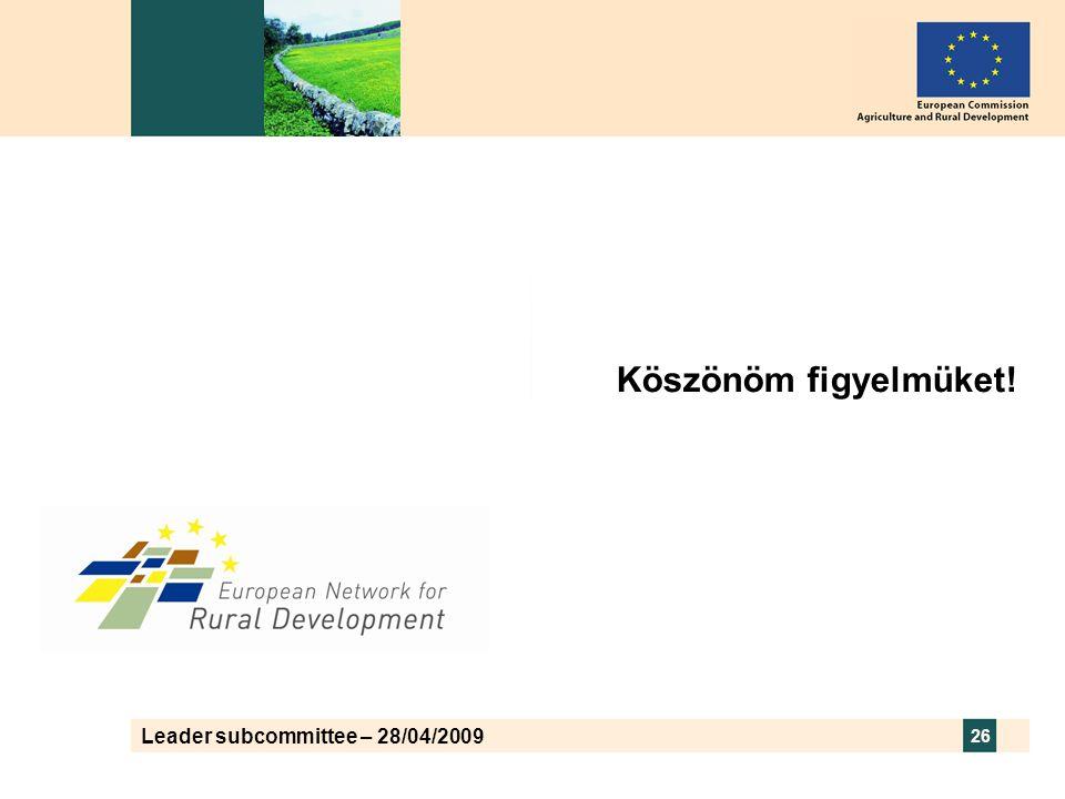 Leader subcommittee – 28/04/2009 26 Köszönöm figyelmüket!