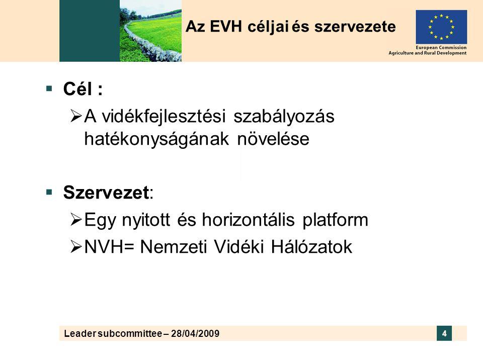 Leader subcommittee – 28/04/2009 4  Cél :  A vidékfejlesztési szabályozás hatékonyságának növelése  Szervezet:  Egy nyitott és horizontális platform  NVH= Nemzeti Vidéki Hálózatok Az EVH céljai és szervezete