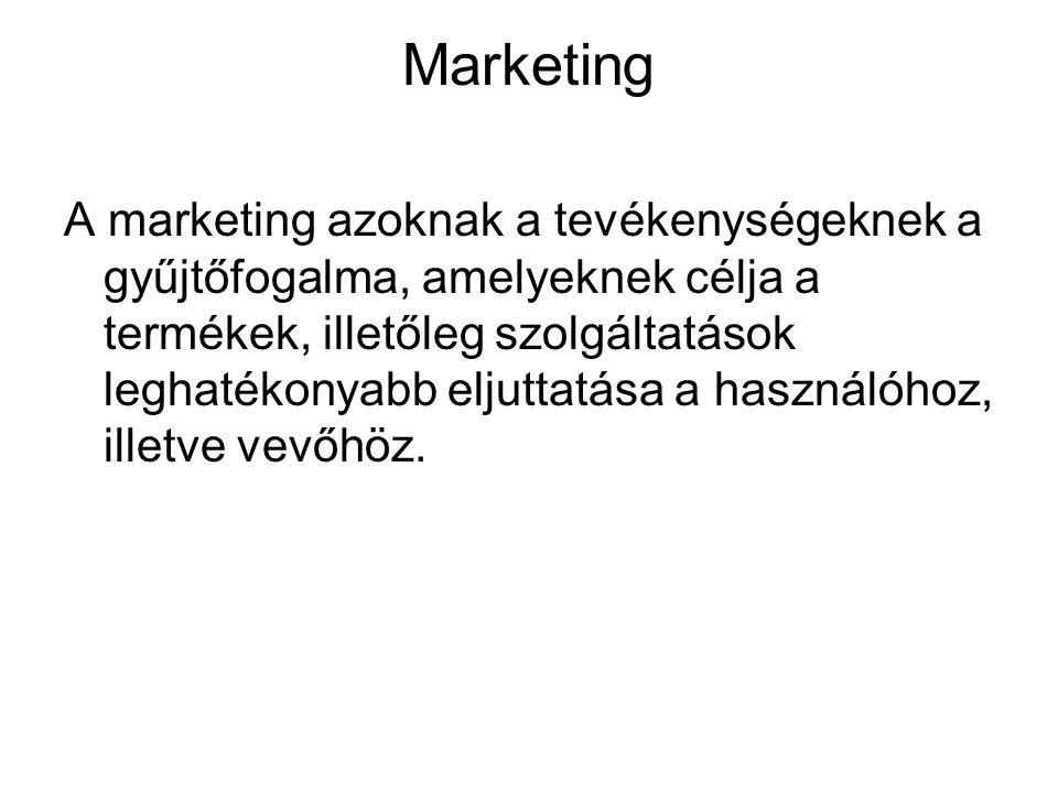 Marketing A marketing azoknak a tevékenységeknek a gyűjtőfogalma, amelyeknek célja a termékek, illetőleg szolgáltatások leghatékonyabb eljuttatása a h