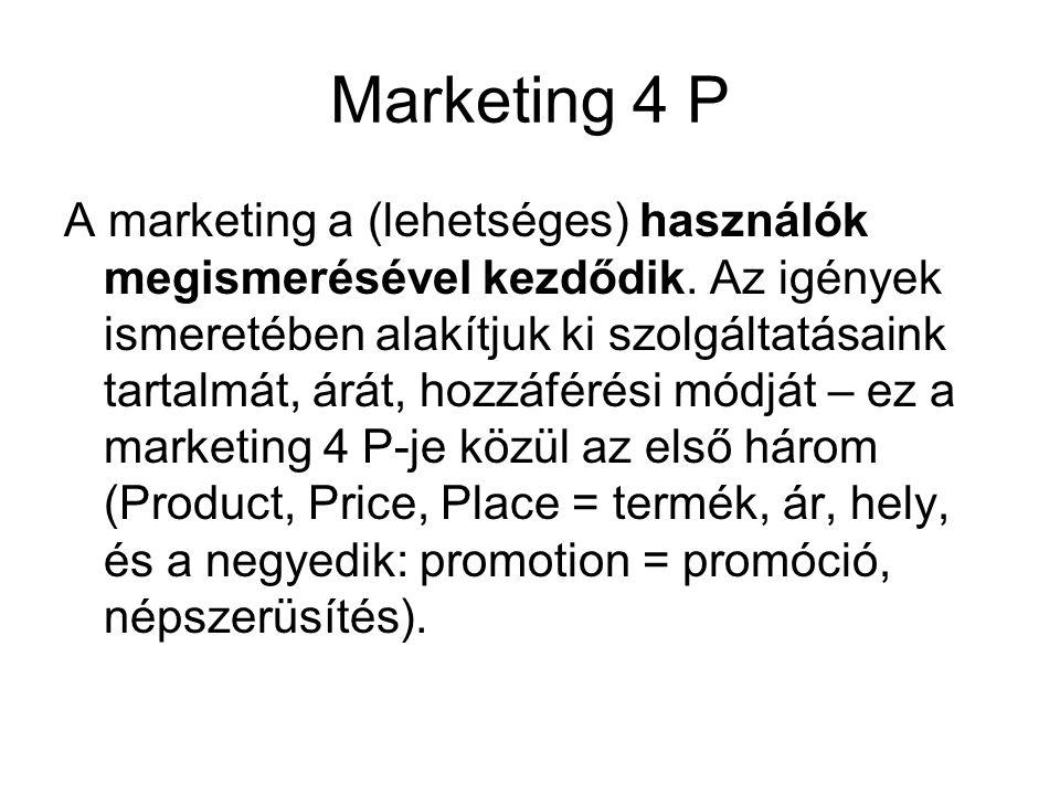 Marketing 4 P A marketing a (lehetséges) használók megismerésével kezdődik. Az igények ismeretében alakítjuk ki szolgáltatásaink tartalmát, árát, hozz