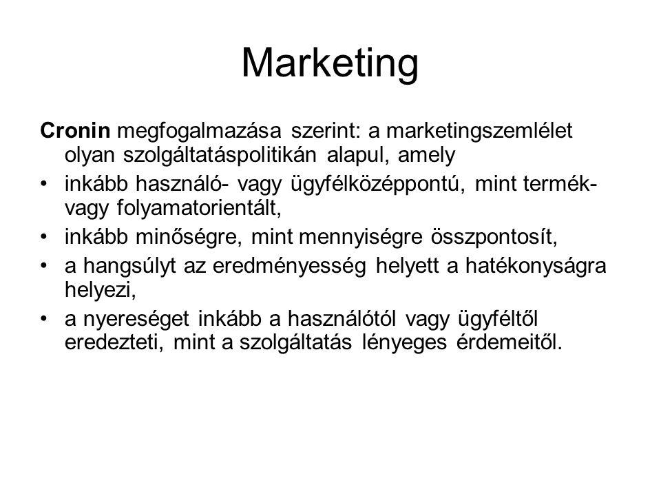 Marketing Cronin megfogalmazása szerint: a marketingszemlélet olyan szolgáltatáspolitikán alapul, amely •inkább használó- vagy ügyfélközéppontú, mint
