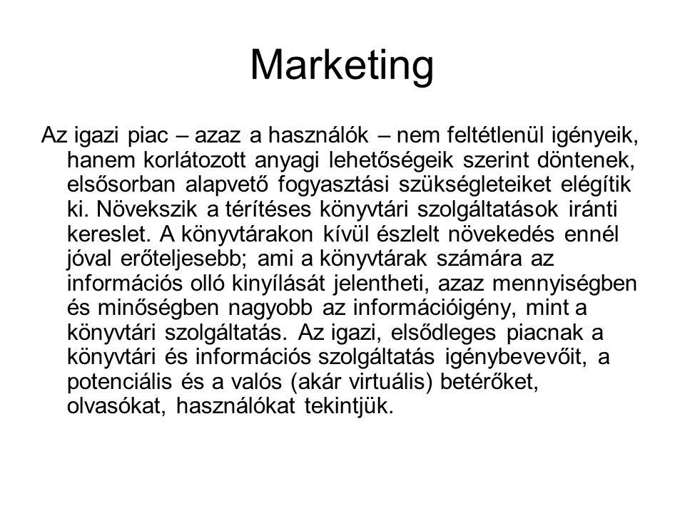Marketing Az igazi piac – azaz a használók – nem feltétlenül igényeik, hanem korlátozott anyagi lehetőségeik szerint döntenek, elsősorban alapvető fog