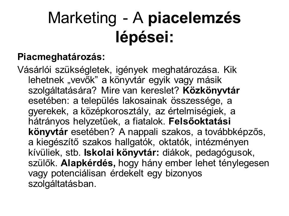 """Marketing - A piacelemzés lépései: Piacmeghatározás: Vásárlói szükségletek, igények meghatározása. Kik lehetnek """"vevők"""" a könyvtár egyik vagy másik sz"""