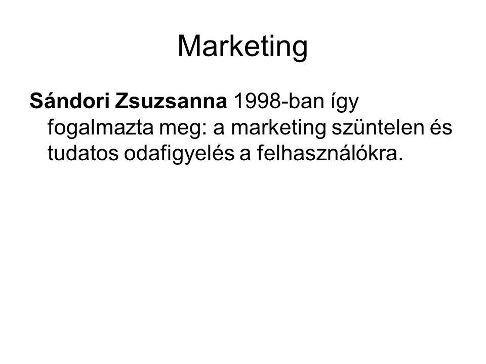 Marketing A kulturális piacon verseny folyik: •a finanszírozási forrásokért •az információ szolgáltatásáért (az információ áru, érték) •a használók elvárásainak minél jobb teljesítéséért •a presztizsért.