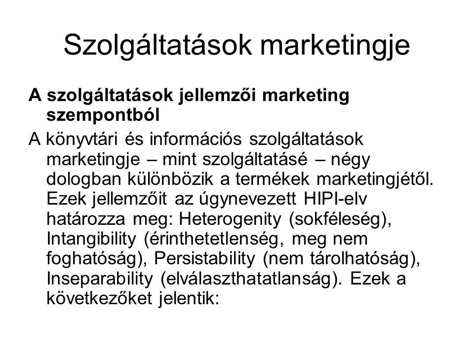 Szolgáltatások marketingje A szolgáltatások jellemzői marketing szempontból A könyvtári és információs szolgáltatások marketingje – mint szolgáltatásé