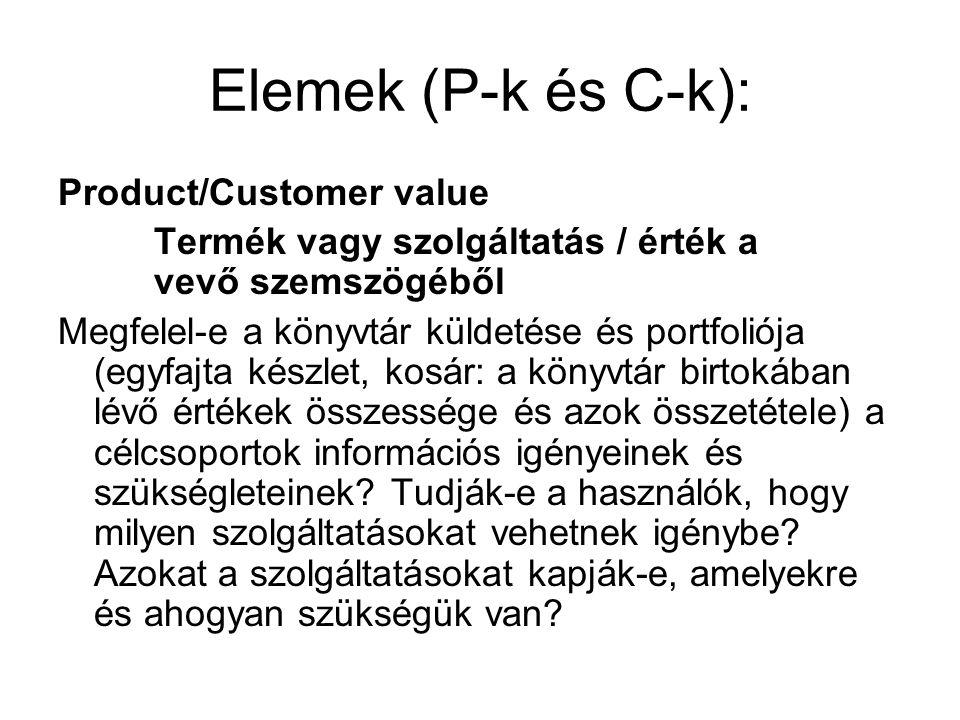 Elemek (P-k és C-k): Product/Customer value Termék vagy szolgáltatás / érték a vevő szemszögéből Megfelel-e a könyvtár küldetése és portfoliója (egyfa
