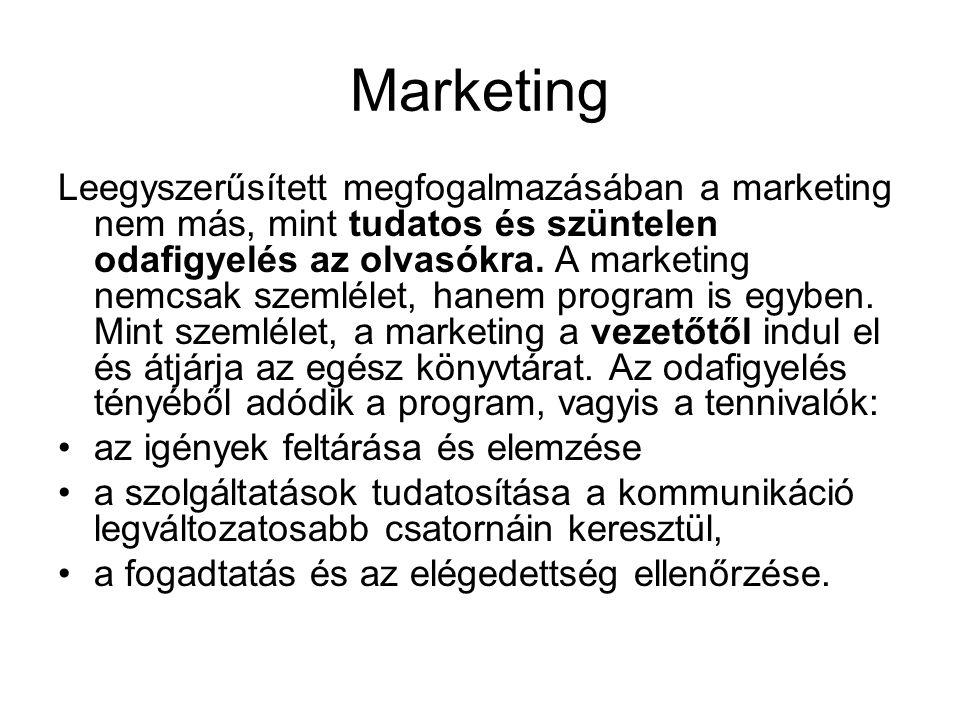 Marketing Leegyszerűsített megfogalmazásában a marketing nem más, mint tudatos és szüntelen odafigyelés az olvasókra. A marketing nemcsak szemlélet, h