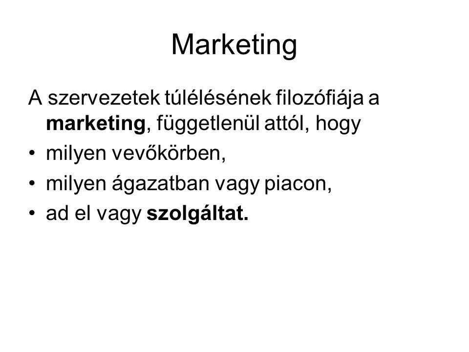 Marketing A szervezetek túlélésének filozófiája a marketing, függetlenül attól, hogy •milyen vevőkörben, •milyen ágazatban vagy piacon, •ad el vagy sz