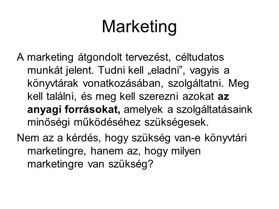 """Marketing A marketing átgondolt tervezést, céltudatos munkát jelent. Tudni kell """"eladni"""", vagyis a könyvtárak vonatkozásában, szolgáltatni. Meg kell t"""