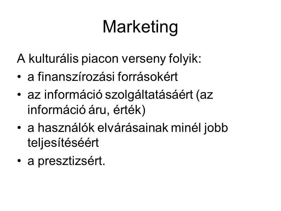 Marketing A kulturális piacon verseny folyik: •a finanszírozási forrásokért •az információ szolgáltatásáért (az információ áru, érték) •a használók el