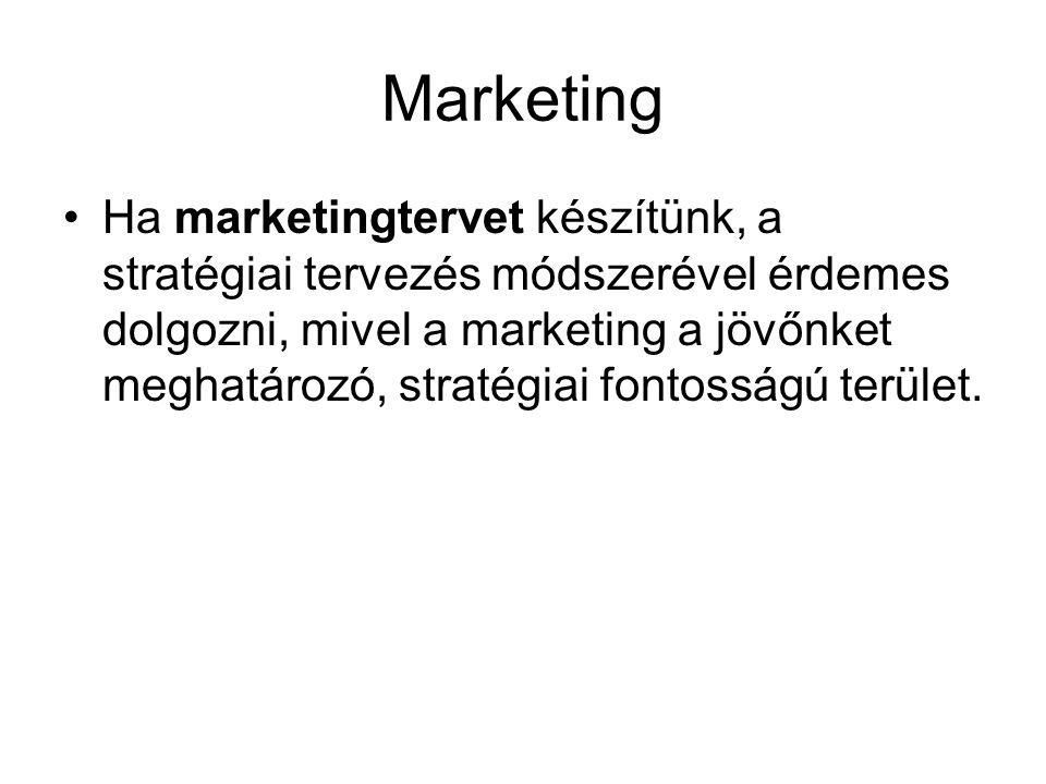 Marketing •Ha marketingtervet készítünk, a stratégiai tervezés módszerével érdemes dolgozni, mivel a marketing a jövőnket meghatározó, stratégiai font