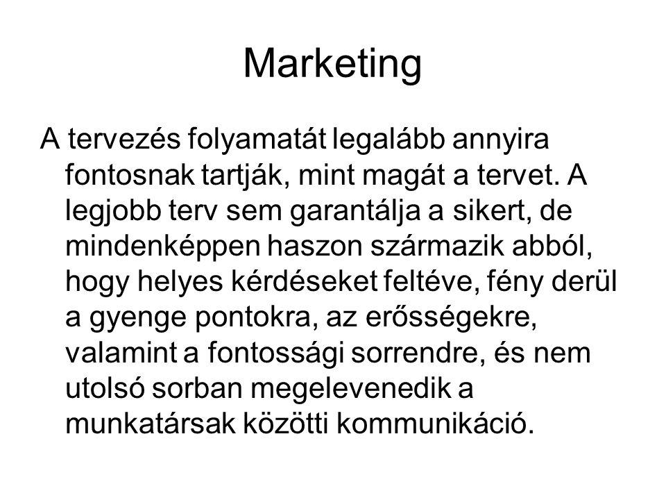 Marketing A tervezés folyamatát legalább annyira fontosnak tartják, mint magát a tervet. A legjobb terv sem garantálja a sikert, de mindenképpen haszo