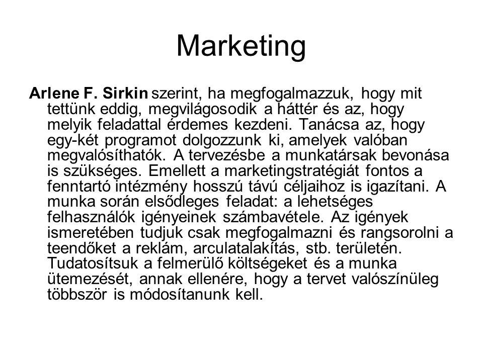 Marketing Arlene F. Sirkin szerint, ha megfogalmazzuk, hogy mit tettünk eddig, megvilágosodik a háttér és az, hogy melyik feladattal érdemes kezdeni.