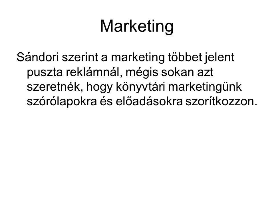 Marketing Sándori szerint a marketing többet jelent puszta reklámnál, mégis sokan azt szeretnék, hogy könyvtári marketingünk szórólapokra és előadások