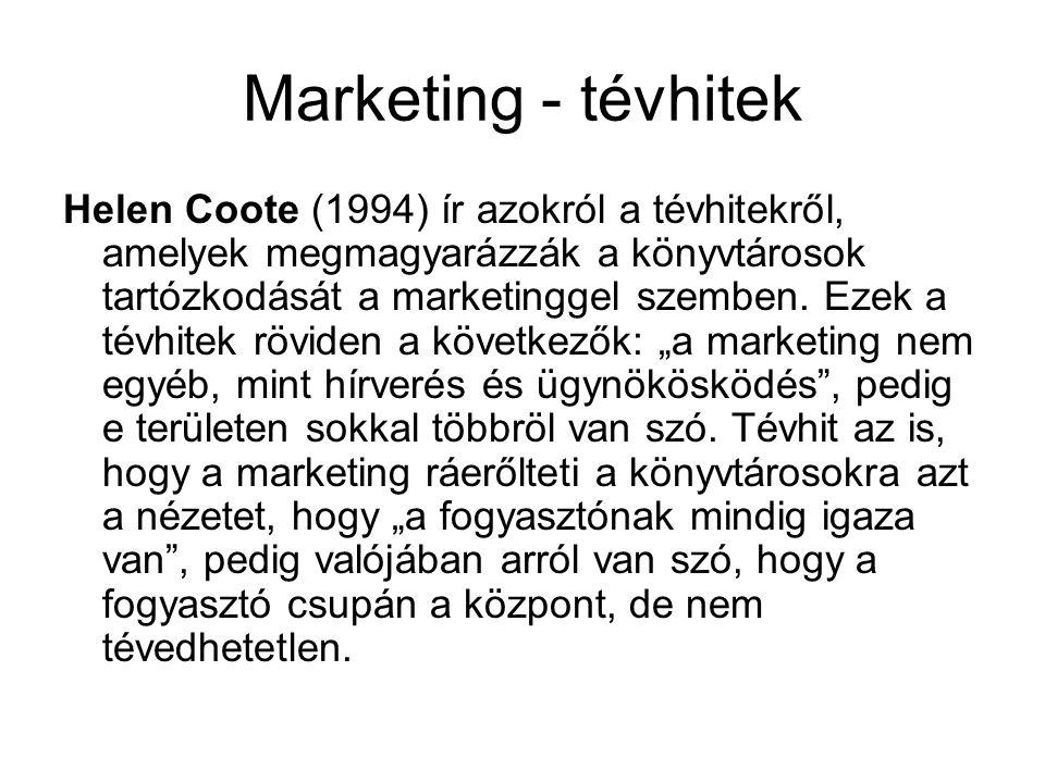 Marketing - tévhitek Helen Coote (1994) ír azokról a tévhitekről, amelyek megmagyarázzák a könyvtárosok tartózkodását a marketinggel szemben. Ezek a t