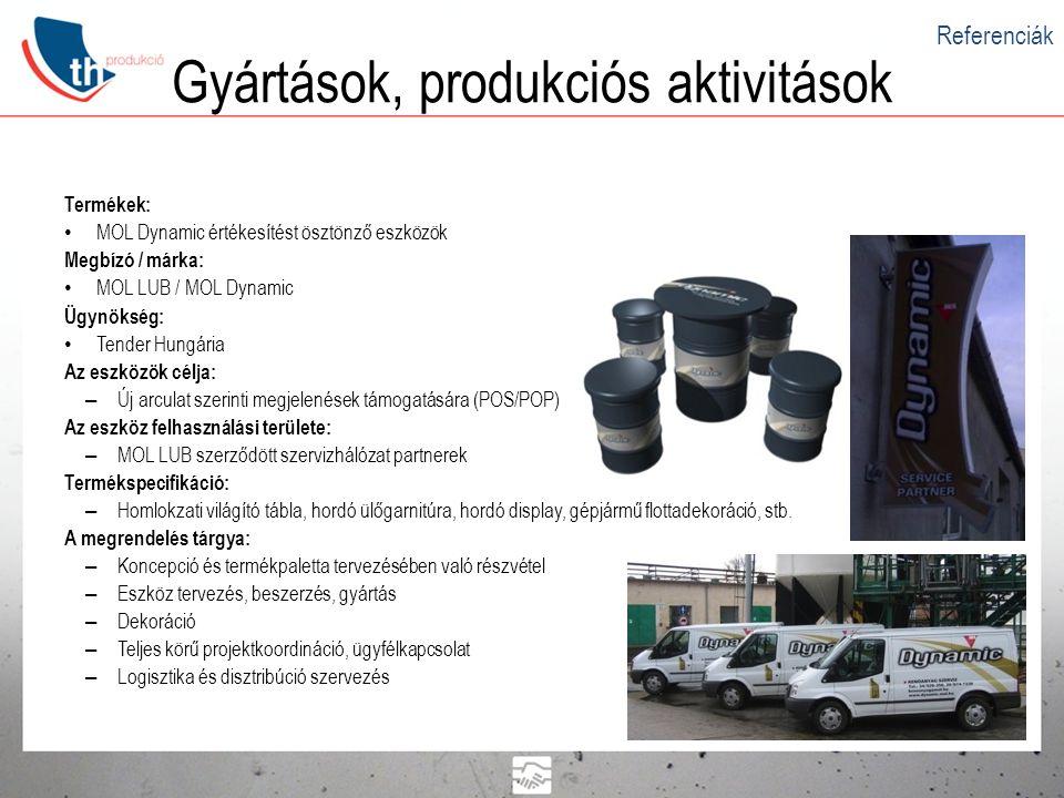 Gyártások, produkciós aktivitások Termékek: • MOL Dynamic értékesítést ösztönző eszközök Megbízó / márka: • MOL LUB / MOL Dynamic Ügynökség: • Tender