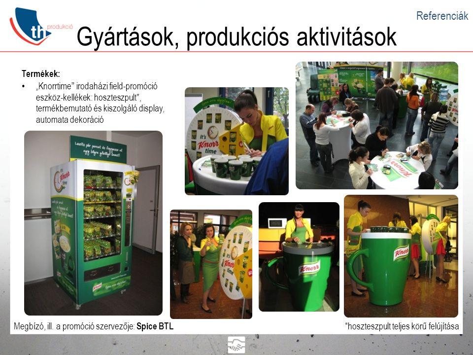 """Gyártások, produkciós aktivitások Termékek: • """"Knorrtime"""" irodaházi field-promóció eszköz-kellékek: hoszteszpult*, termékbemutató és kiszolgáló displa"""
