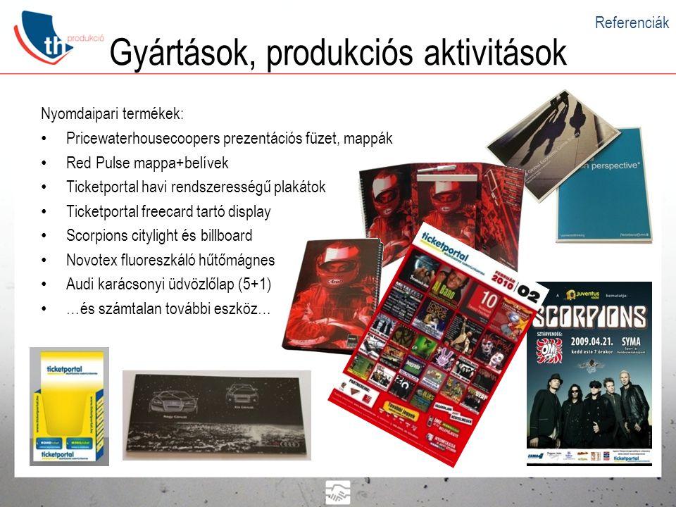 Gyártások, produkciós aktivitások Referenciák Nyomdaipari termékek: • Pricewaterhousecoopers prezentációs füzet, mappák • Red Pulse mappa+belívek • Ti
