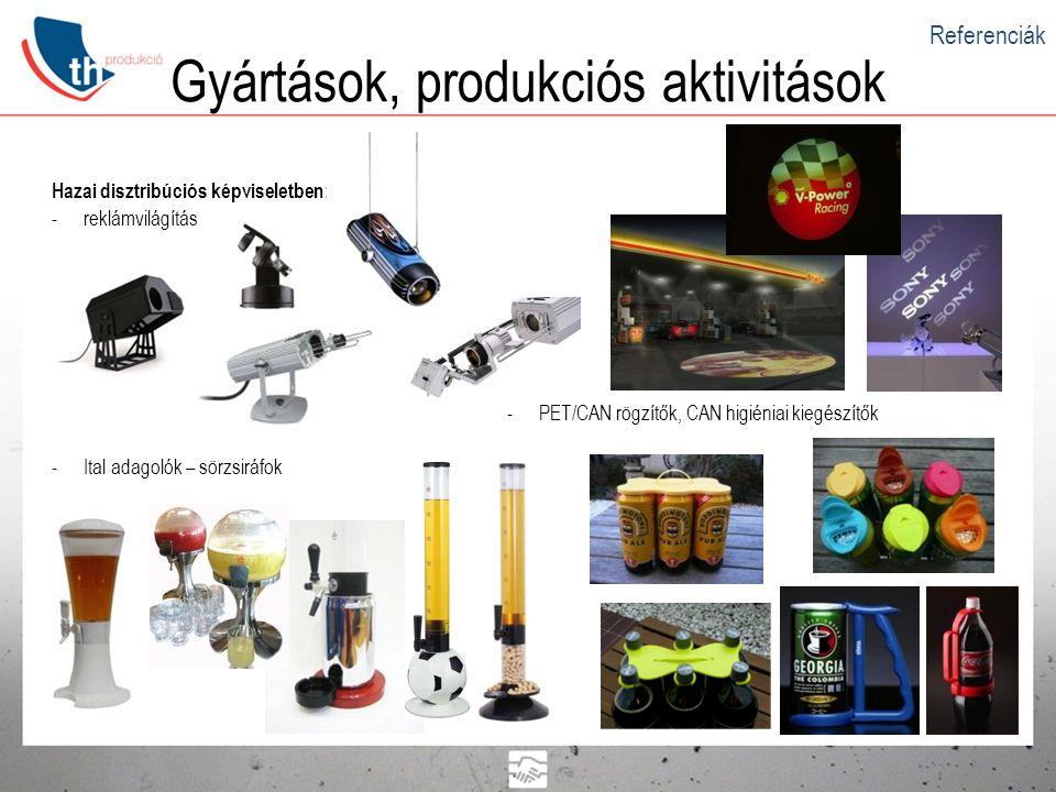 Gyártások, produkciós aktivitások Hazai disztribúciós képviseletben: -reklámvilágítás -Ital adagolók – sörzsiráfok -PET/CAN rögzítők, CAN higiéniai ki