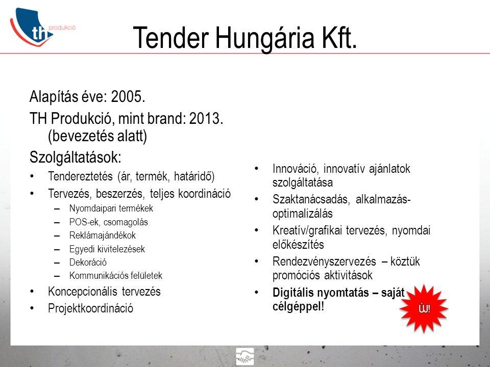 Tender Hungária Kft. Alapítás éve: 2005. TH Produkció, mint brand: 2013. (bevezetés alatt) Szolgáltatások: • Tendereztetés (ár, termék, határidő) • Te