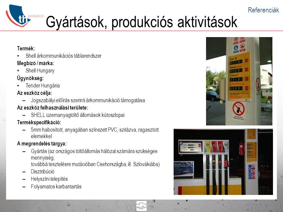 Gyártások, produkciós aktivitások Termék: • SHELL V-Power Racing reklámvilágítás Megbízó / márka: • Shell Hungary Ügynökség: • Tender Hungária Az eszköz célja: – Termék (V-Power) kommunikáció (SP) Az eszköz felhasználási területe: – SHELL üzemanyagtöltő állomás kassza bejárata (tervezés alatt: további kültéri alkalmazási lehetőségek.