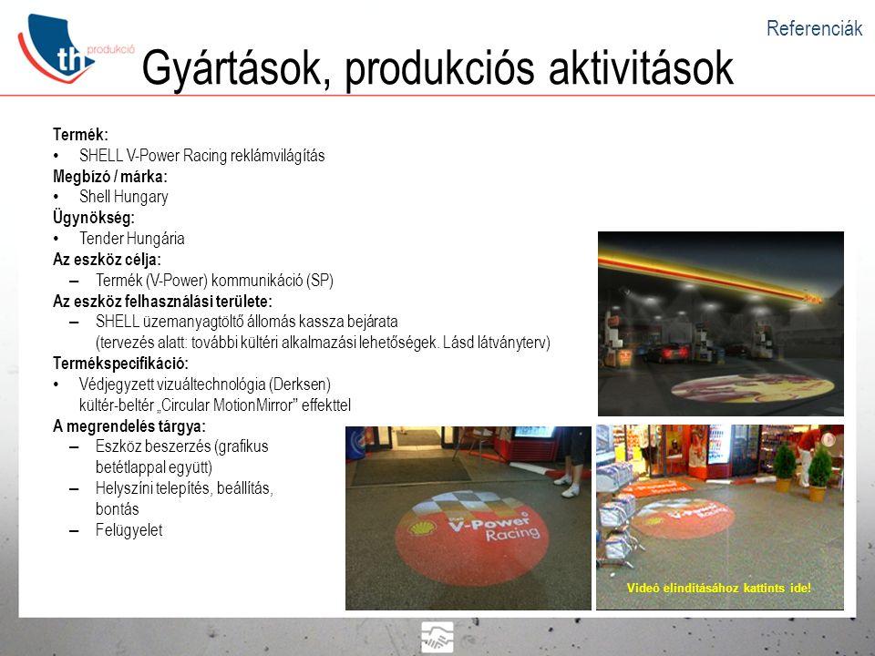 Gyártások, produkciós aktivitások Termék: • SHELL V-Power Racing reklámvilágítás Megbízó / márka: • Shell Hungary Ügynökség: • Tender Hungária Az eszk