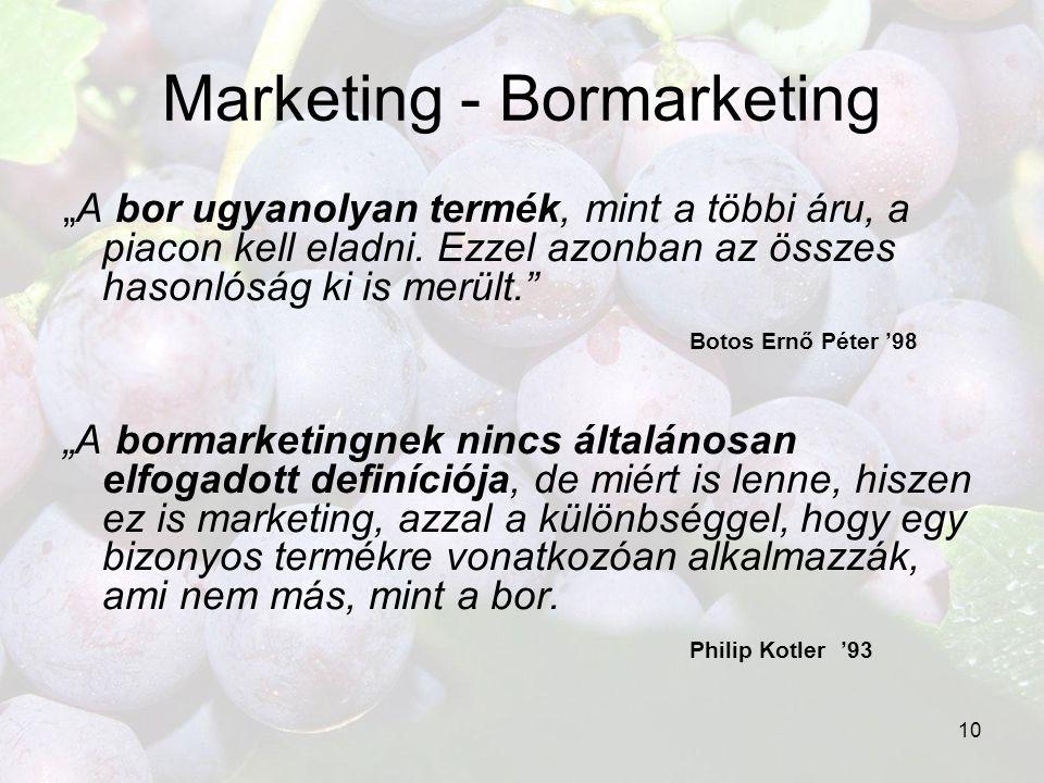 """10 Marketing - Bormarketing """"A bor ugyanolyan termék, mint a többi áru, a piacon kell eladni. Ezzel azonban az összes hasonlóság ki is merült."""" Botos"""