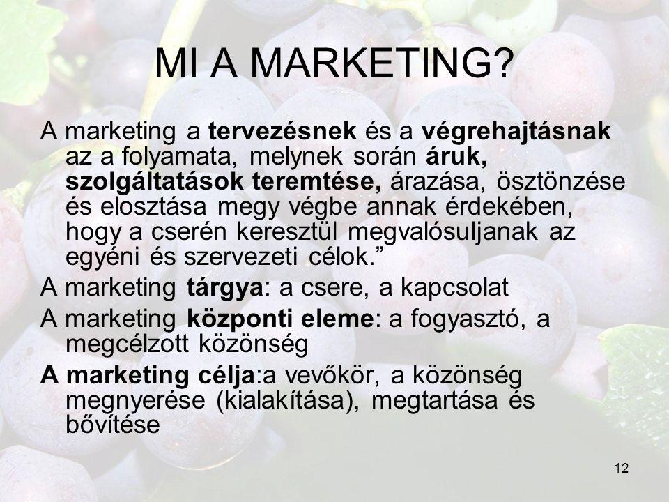 12 MI A MARKETING? A marketing a tervezésnek és a végrehajtásnak az a folyamata, melynek során áruk, szolgáltatások teremtése, árazása, ösztönzése és