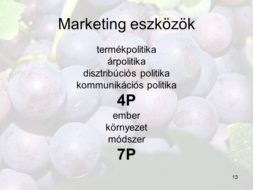 13 Marketing eszközök termékpolitika árpolitika disztribúciós politika kommunikációs politika 4P ember környezet módszer 7P