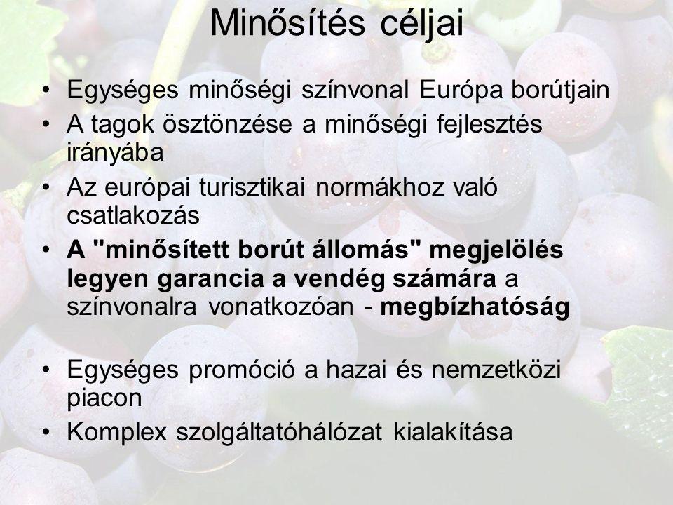 Minősítés céljai •Egységes minőségi színvonal Európa borútjain •A tagok ösztönzése a minőségi fejlesztés irányába •Az európai turisztikai normákhoz va