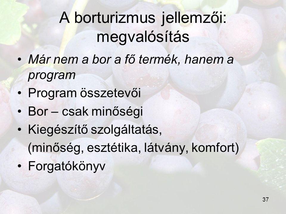 37 A borturizmus jellemzői: megvalósítás •Már nem a bor a fő termék, hanem a program •Program összetevői •Bor – csak minőségi •Kiegészítő szolgáltatás